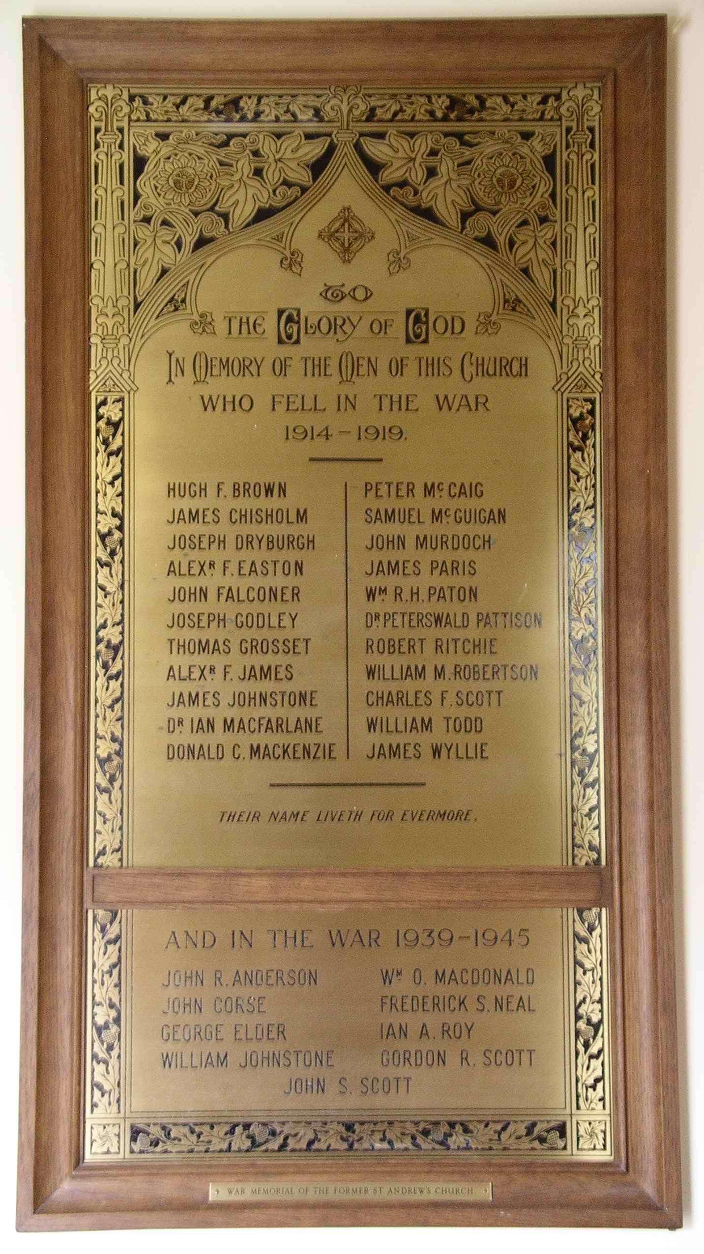 1914-1918 War Memorial Plaque St Margaret's Church